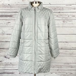 Susan Graver Quilted Puffer Jacket Faux Fur 2X New